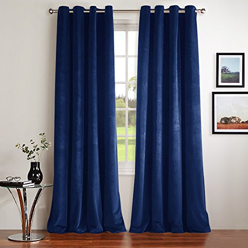 Bedroom Blackout Velvet Curtain Panels - Sound Reducing Heavy Matt Grommet Top Solid Drapes by NICETOWN (Set of 2, W52xL84-inch, Royal Blue)