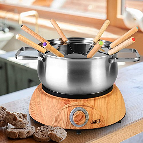 Artestia Electric Chocolate & Cheese Fondue Set, Serve 8 persons (Stainless Steel Pot, Wood Pattern Base) by Artestia (Image #2)