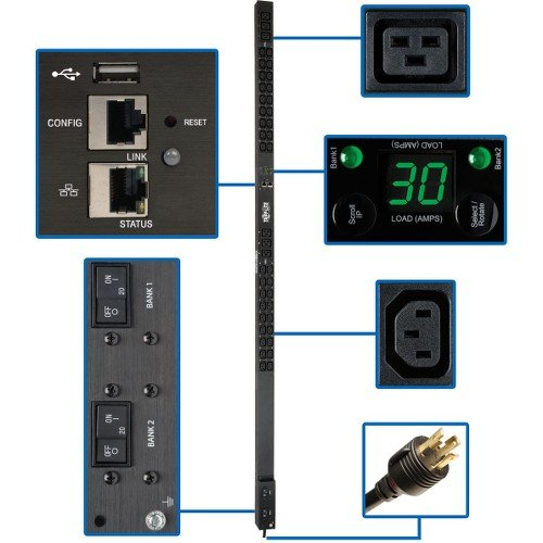 Tripp Lite PDU Monitored 208/240V 30A 36 C13; 6 C19 Outlets L6-30P LX Interface 10 ft Cord 0URM TAA (PDUMNV30HV2LX)