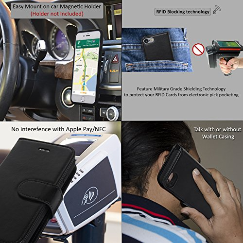 Navor Folio Wallet Magnetic Detachable vitality Battery situation 3000mAh for iPhone 7 6 47 Inch Black Wallet Cases
