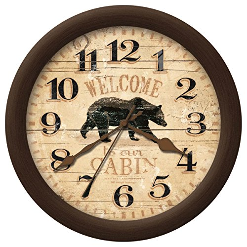 Rustic Cabin Style Home Decor Bear Wall Clock -