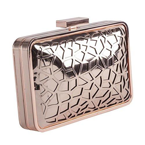 Bolsa de embrague, Celine Rosa, metal cepillado