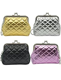 """Oyachic 4 Packs Coin Pouch Purse Clasp Closure Assorted Pattern Wallet Exquisite Gift 4.7""""L X 3.5"""" H"""""""