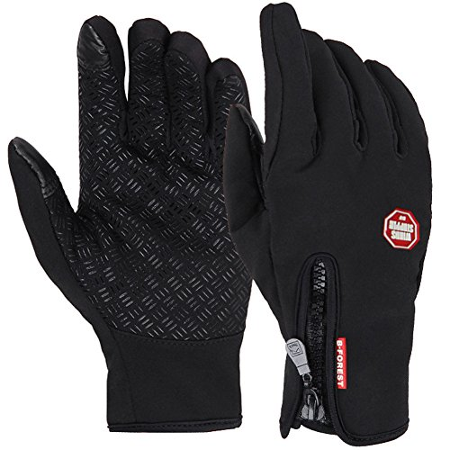 Awakingdemi Cycling Gloves,Cycling Warm Windproof Touchscreen Glove Mittens Fleece in Winter Outdoor Bike Gloves (L)
