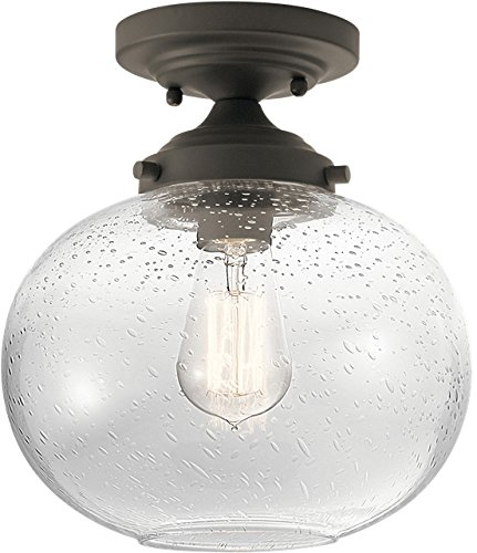 Kichler 42296OZ Avery Clear Seeded Semi-Flush Light in Olde Bronze - Olde Bronze Outdoor Fixture