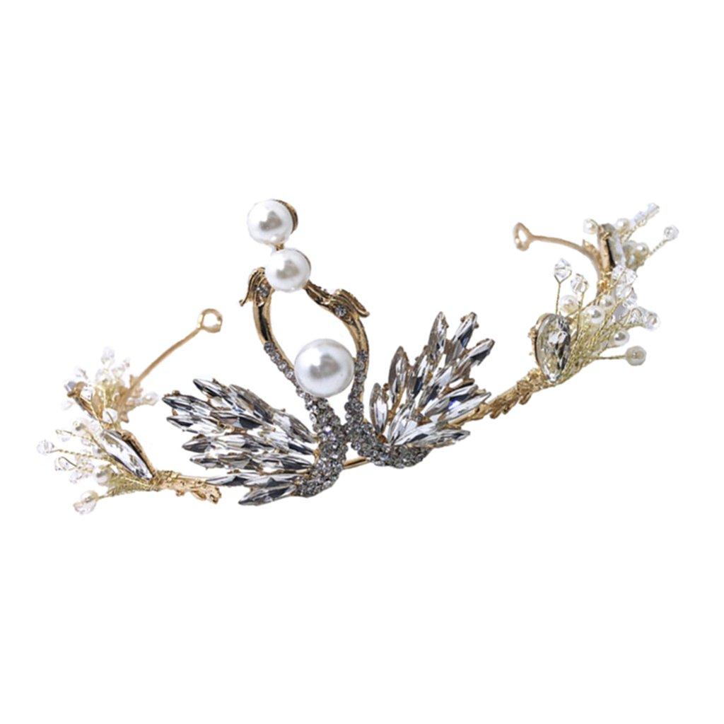 Baoblaze Rhinestones Crystal Wedding Bridal Prom Pageant Princess Swan Tiara Crown Hair Jewelry