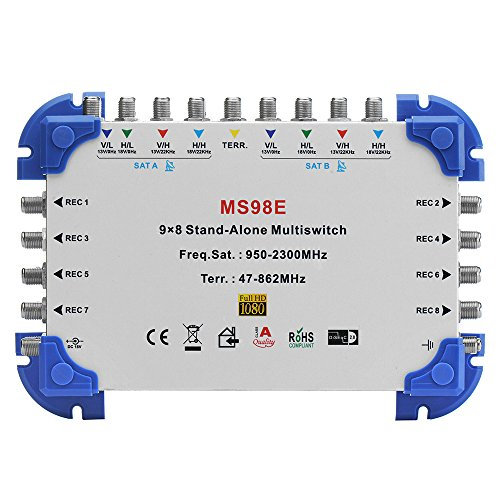 Tuorbot 9 x 8 Satellite Multiswitch Min-Max 9-In/8-Out for FTA ()