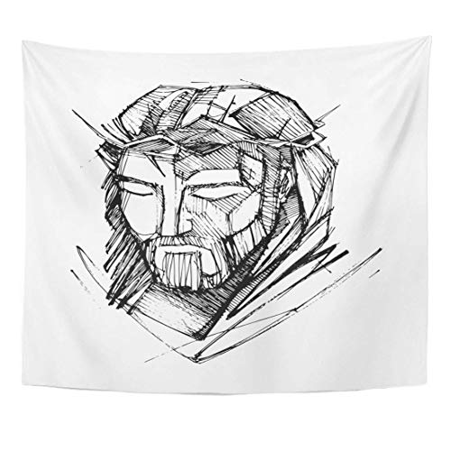 YGYURRI Tapestry Fabric Wall Art Blanket Catholic Sketch Drawing of Jesus Christ Face at His Passion Beard Christian Crown Adults Kids's Room Decor Wall Cloth Curtains Bedspread 71x60Inches
