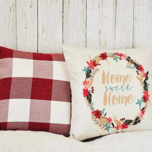 PANDICORN Set of 2 Farmhouse Decorative Throw Pillow Covers, Retro Checkers Throw Pillows Cases with Quotes Home Sweet Home, Red White Buffalo Check Cushion Cover for Couch Porch, 18x18
