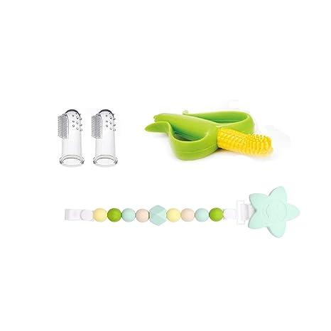 INCHANT Dentición Juguetes Set De 3 Para Bebés y Niños, BPA Libre, Silicona Teethers + Chupete/Mordedor Holder Clip + Masajeador Dedo Del Cepillo ...