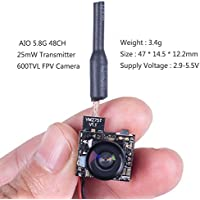 SunFounder SF-C01 Micro FPV Camera with 5.8G 48CH 25mW Transmitter and Y-Shape Splitter for Blade Inductrix Quadcopter Multiroter Aircraft Model