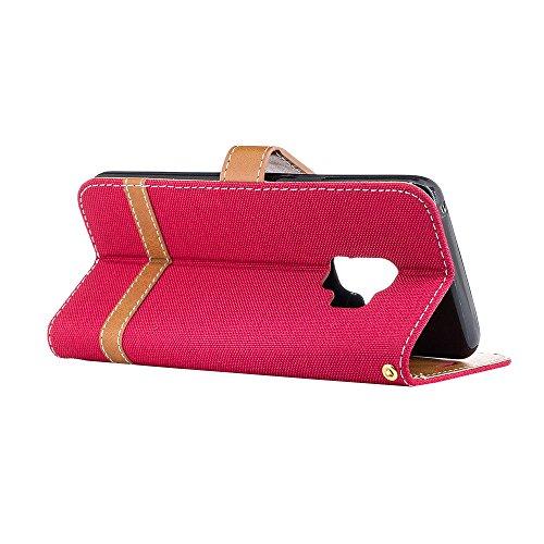 Grandcaser Funda para Samsung Galaxy S9,Double Layer Protectora Funda Suave Stitch Denim Leather Cuero Libro Flip Estuche de Silicona Bumper Flexible Cover Carcasa - Púrpura Rojo