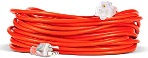 Outdoor Indoor Extension Cord 25Ft- Lighted Outlet Extra Long Heavy Duty Fire Resistant Weatherproof Waterproof Extension Cord, 3 Prong Grounded Plug For Holiday Decor/Gardening/Landscaping (1 outlet)