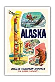 Alaska USA - The Alaska Flag Line - Pacific Northern Airlines - Vintage Airline Travel Poster c.1960s - Master Art Print - 12in x 18in