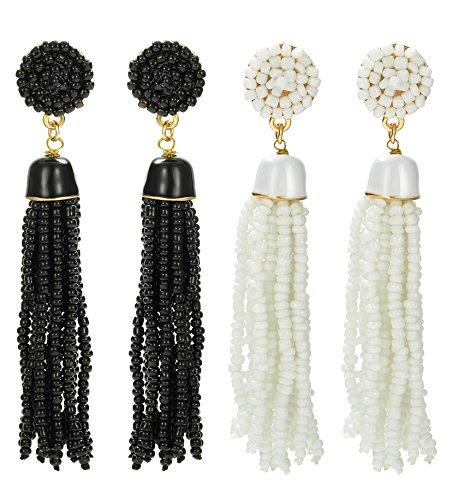 ORAZIO 1-2 Pairs Long Tassel Earrings For Women Girl Beaded Fringe Dangle Ear Drops]()