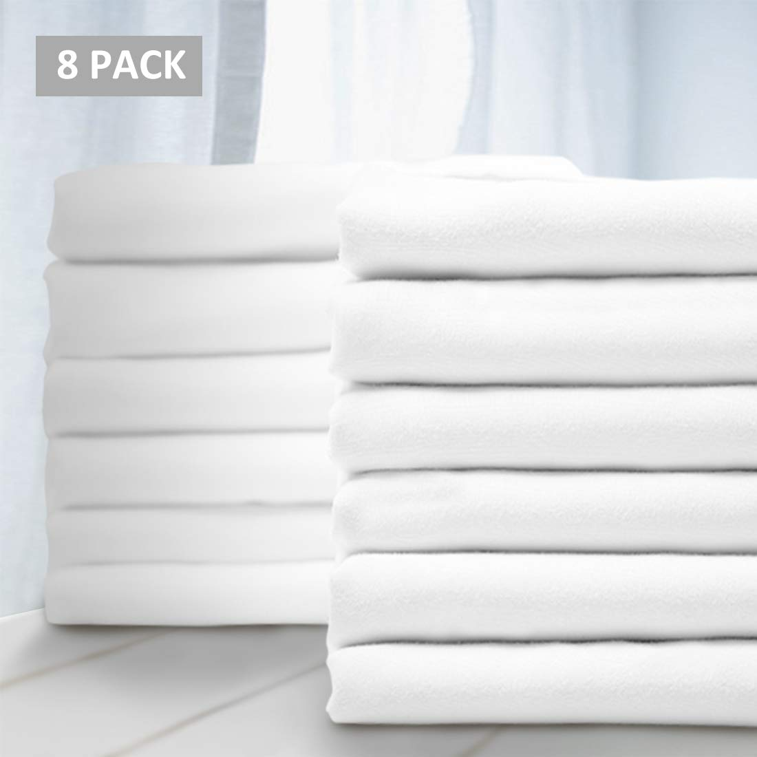 Balichun Premium Queen Pillowcase 8 Pack - Standard White - 1800 Thread Count - Soft Brushed Microfiber Hypoallergenic - Wrinkle Resistant - Tailoring Iron - Bulk Pillowcases Set of 8