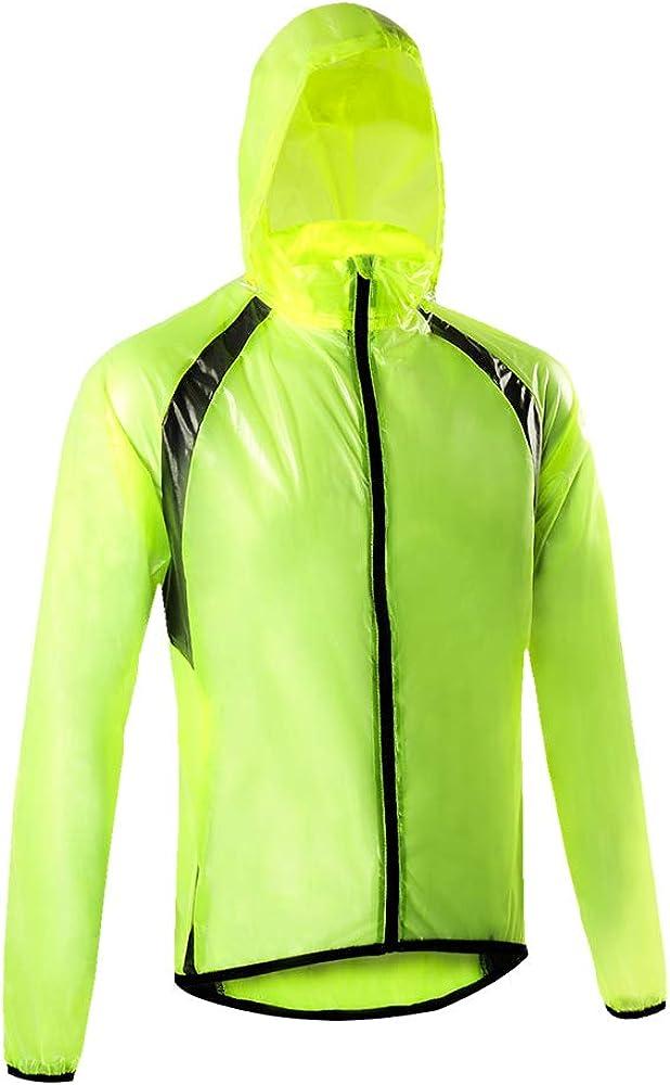 Dooy Mens Cycling Rain Jacket Waterproof Lightweight Raincoat Hooded Bike Running Windbreaker
