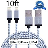 XUZOU iPhone Cable,2Pack (10FT) Extra Long Nylon Braided Cord Apple Lightning Cable Certified to USB Charging Charger for iPhone 7/7 Plus/6/6S/6 Plus/6S Plus/5/5S/5C/SE,iPad,iPod 7 (Gary+White,10FT)