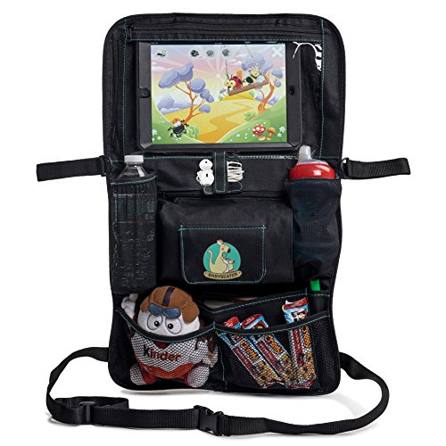 2017-NEW-Backseat-Car-Organizer-for-Kids-Babys-Toddlers-by-BabySeater-Tablet-iPad-DVD-Holder-Wet-Wipes-Tissue-Compartment-Stretchy-Storage-Pockets-Kick-Mat-Seat-Back-Protector-Gift-For-Parents