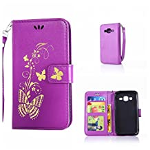 CUSKING Galaxy Core Prime Case, Leather Wallet Case for Samsung Galaxy Core Prime Magnetic Flip Folio Lifeproof Protective Skin Case Golden Butterfly Pattern Design Back Cover with Card Holder - Purple