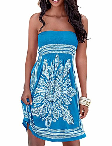 - Imagine Women's Strapless Floral Print Bohemian Casual Mini Beach Dress(BE,M)