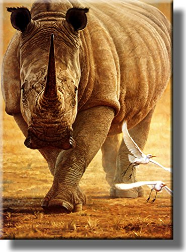 Rhino Wildlife Safari Picture on Stretched Canvas, Wall Art Décor, Ready to Hang!