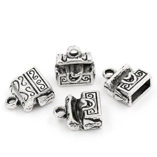 Tibetan Treasures - Pack 10 x Antique Silver Tibetan 12mm Charms Pendants (Treasure Chest) - (ZX05410) - Charming Beads