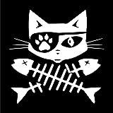 Pirate Cat Fish Crossbones Vinyl Decal Sticker   Cars Trucks Vans SUVs Windows Walls Cups Laptops   White   5.5 Inch   KCD2404