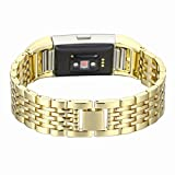 For Fitbit Charge 2 Bands, Aottom Fitbit Charge 2 Watch Band Stainless Steel Replacement Band Wrist Bands Metal Buckle Clasp Bracelet Wristband for Fitbit Charge 2 Fitness Accessories - Gold