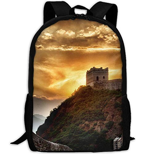 Phyllis Walker Backpack Sunset at Great Wall Print Fashion College Double Shoulder Bag Travel Outdoor Camping Crossbody Bags for Men -