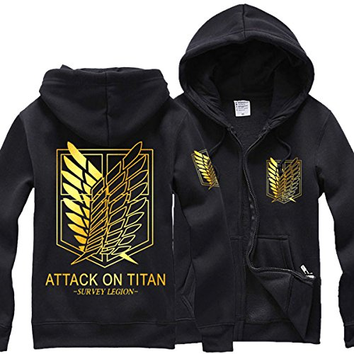 Pulle-A Anime Attack On Titan Shingeki No Kyojin Survey Corps Eren Halloween Cosplay Hoodie Survey Corps Adult Zip Long Sleeve Hoodie (Blackgold, X-Large) (Attack On Titan Cosplay Eren)