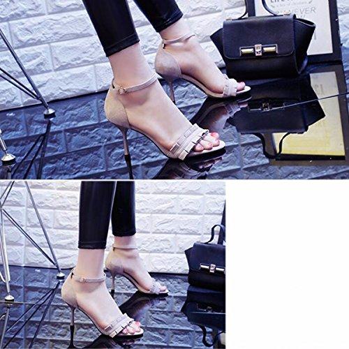 Sandalias Gray JRFBA de Desgaste Verano y Alto con Alto de Zapatos Corto Tacon Tacón Zapatos 6qaq5r