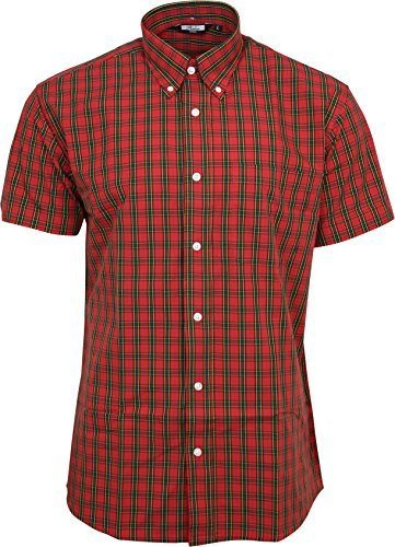 810fd56da Relco Men's Red Tartan Shortsleeve Button Down 100% Cotton Shirt Medium