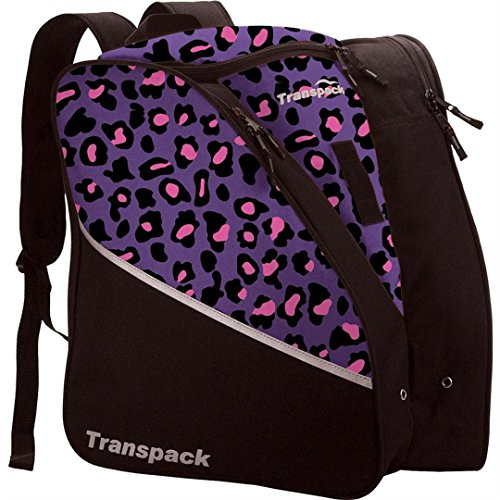Transpack Edge Junior Ski Boot Bag - Purple/Pink Leopard (Pink Bag Snowboard)