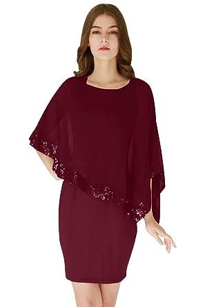 375a4e61415eb2 YMING Damen Elegant Chiffonkleid Sommerkleid Pailletten Patchwork Minikleid  Abendkleid,Burgundy,XS/DE 32