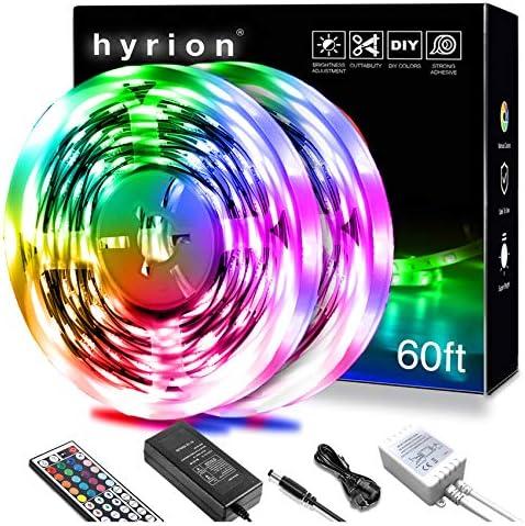 hyrion Led Strip Lights 60ft, 2 Rolls of 30ft RGB Led Lights Strip Kit with 44 Keys Remote Color Changing Led Lights for Bedroom, Home, Kitchen Decoration