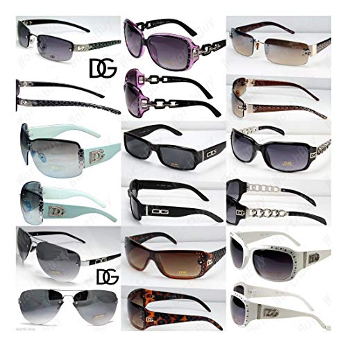 Lot 12 Random Pairs DG Sunglasses Fashion Designer Shades Wholesale Combo Wrap -