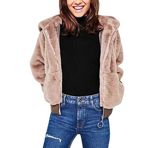 Corta Donna Cardigan Bomber Fur Con Cappotto Spessa Longra Peluche Maniche Rosa Lunghe Giacca Cerniera Cappuccio A Faux Felpa Invernale ArwY4qA
