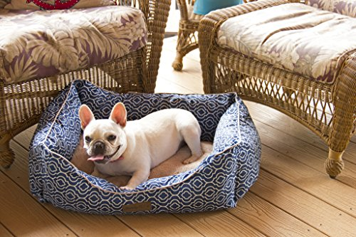 Pet Trendy Modern Chic Trellis Pet Bed, 20 x 28 x 8 - Inch, Navy Blue