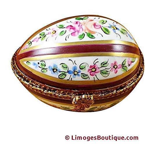 BURGUNDY STRIPED EGG - LIMOGES PORCELAIN FIGURINE BOXES AUTHENTIC IMPORTS