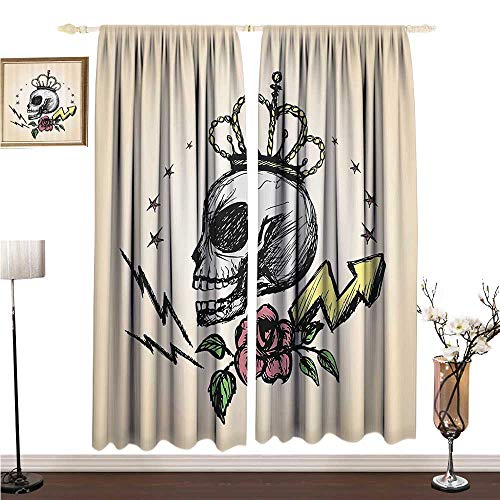Simple Curtain Skull Decor Mexican Folk Art Inspired Skeleton with Crown and Rose Halloween Artsy Design W108 xL84 Children's Bedroom -