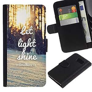LASTONE PHONE CASE / Lujo Billetera de Cuero Caso del tirón Titular de la tarjeta Flip Carcasa Funda para Samsung Galaxy S6 SM-G920 / Light Shine Sunset Quote Winter Sun