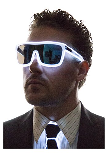 Neon Nightlife White Frame/Tinted Single Lens Tron Style Light Up - Party Glasses Oversized