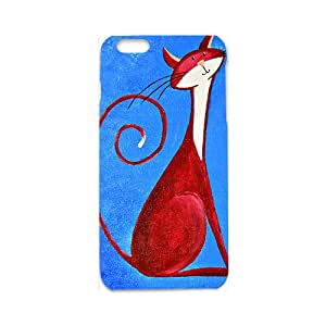 Custom Animal RED Cat Painting Blue Background Cute Pattern Case For iPhone 6S 3d Case