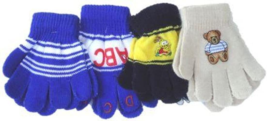Four Pairs Stretch Magic Gloves for Infants and Toddlers Ages 1-4 Years