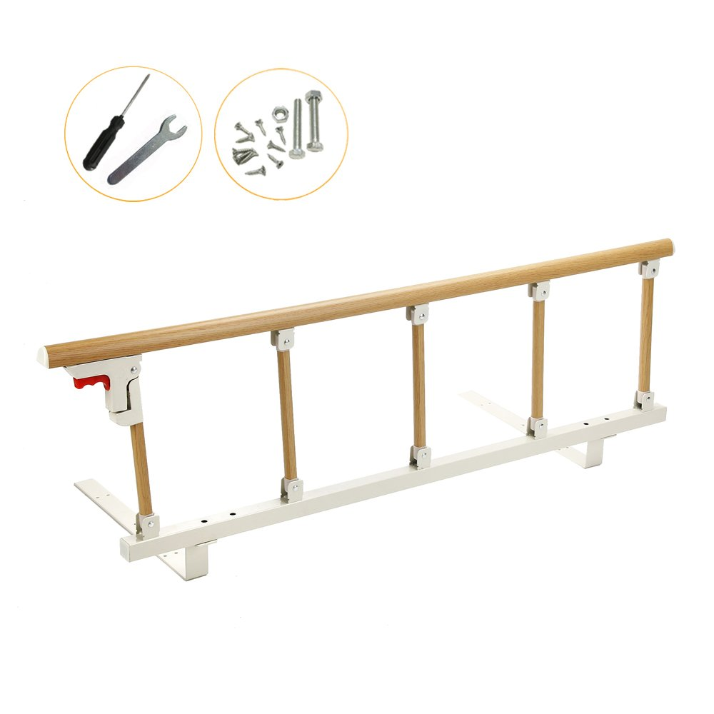 Bed Rails for Elderly Adults Seniors Bed Assist Rail Adjustable Handle Safety Guard Railing Hospital Folding Handrail Swing Bedside Grab Bar Medical Assistance Devices (47x14 inch)