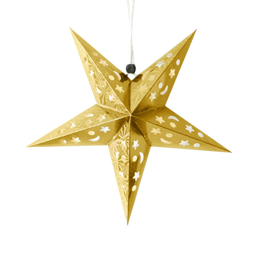 Clearance Tuscom 17.8'' 1 Pc Star Romantic Xmas String Charm Star for Christmas Tree Party Paper Three-Dimensional Ornaments Ornament (6 Color) (Gold)