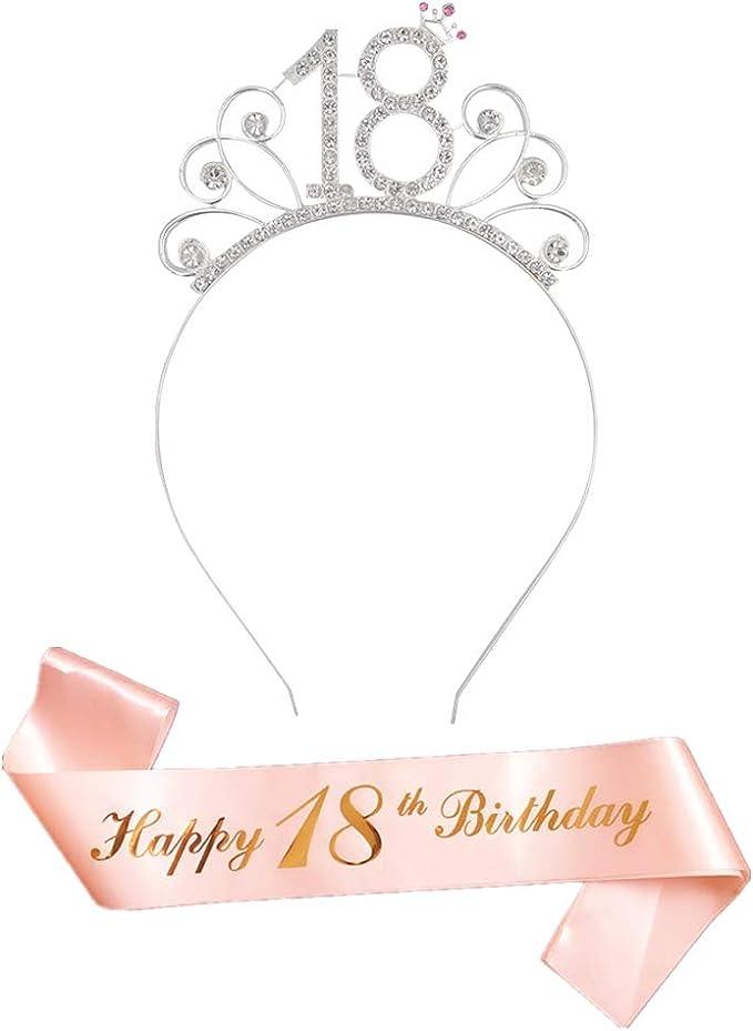 Reyok Rose Gold Happy 18 Birthday Geburtstag Schärpe 18 Krone Haarreif Tiara Stirnband Für 18 Geburtstag Mädchen Party Deko Accessoires Geschenk Spielzeug