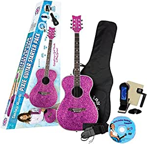 daisy rock pixie acoustic electric guitar starter pack pink sparkle musical. Black Bedroom Furniture Sets. Home Design Ideas