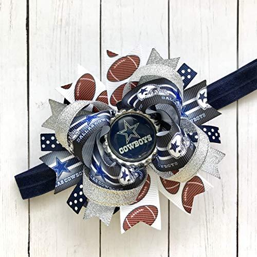 Dallas Cowboys Girl Infant Headband, NFL Football Dallas Cowboys Silver Navy Royal Handmade Headband Hair Bow
